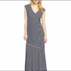 Jessica Simpson Maternity Black & White Wrap Maxi
